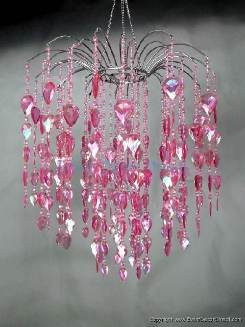 Large Pink Waterfall Acrylic Crystal Chandelier Wedding Event Party Decor