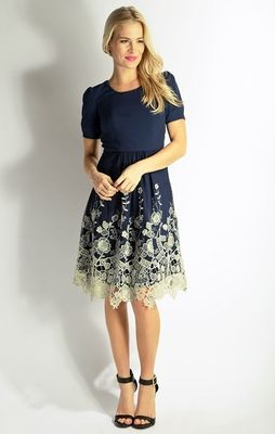 5cf686c955 Gorgeous cut-out lace look on the skirt! So feminine   classy! Golden  Prospect Modest Dress in Peacoat