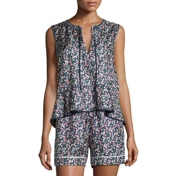 Moncler Floral Silk Satin Peplum Tank ($570) ❤ liked on Polyvore featuring tops, navy, sweater pullover, navy blue tank, navy blue top, navy pullover and blue tank top