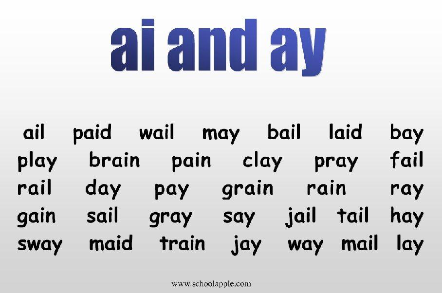 Ai Or Ay Vowel Digraphs Ai Ay First Grade Lessons
