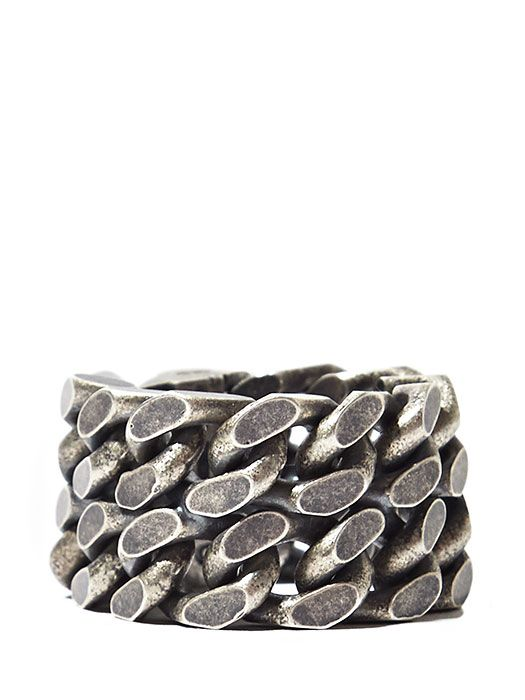 Saint Laurent Mens Silver Double Chain Ring Intersting