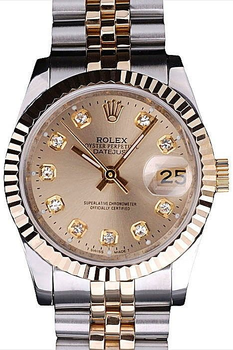a13729c240a Womens Replica Rolex DateJust Gold Dial Yellow Gold Stainless Steel Bezel  Watch with Two Toned Steel Bracelet