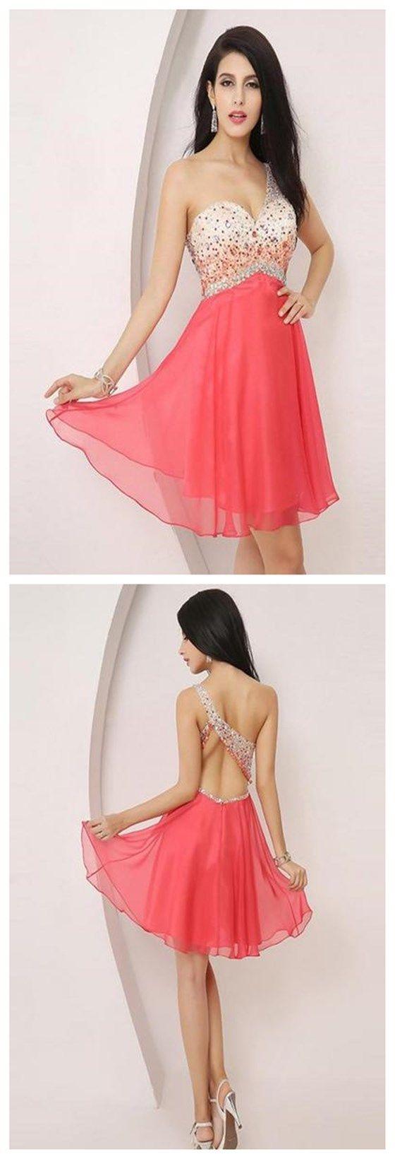 one shoulder aline homecoming dressbeaded short prom dress