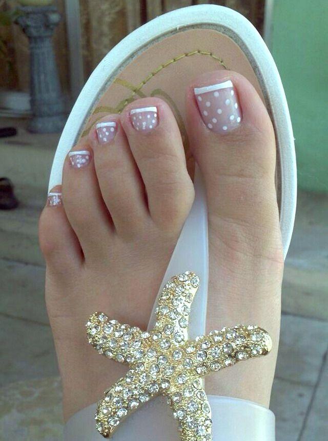 White Polkadot French Tip Nail Designs Toes Cute Nails Pinterest