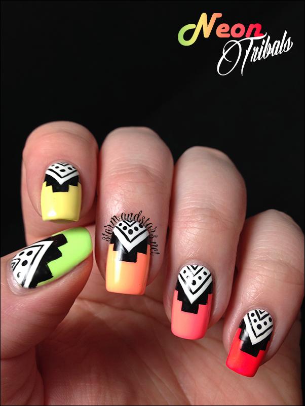 Neon Tribal Nail Art - Neon Tribal Nail Art Neon, Tribal Toe Nails And Toe Nail Designs