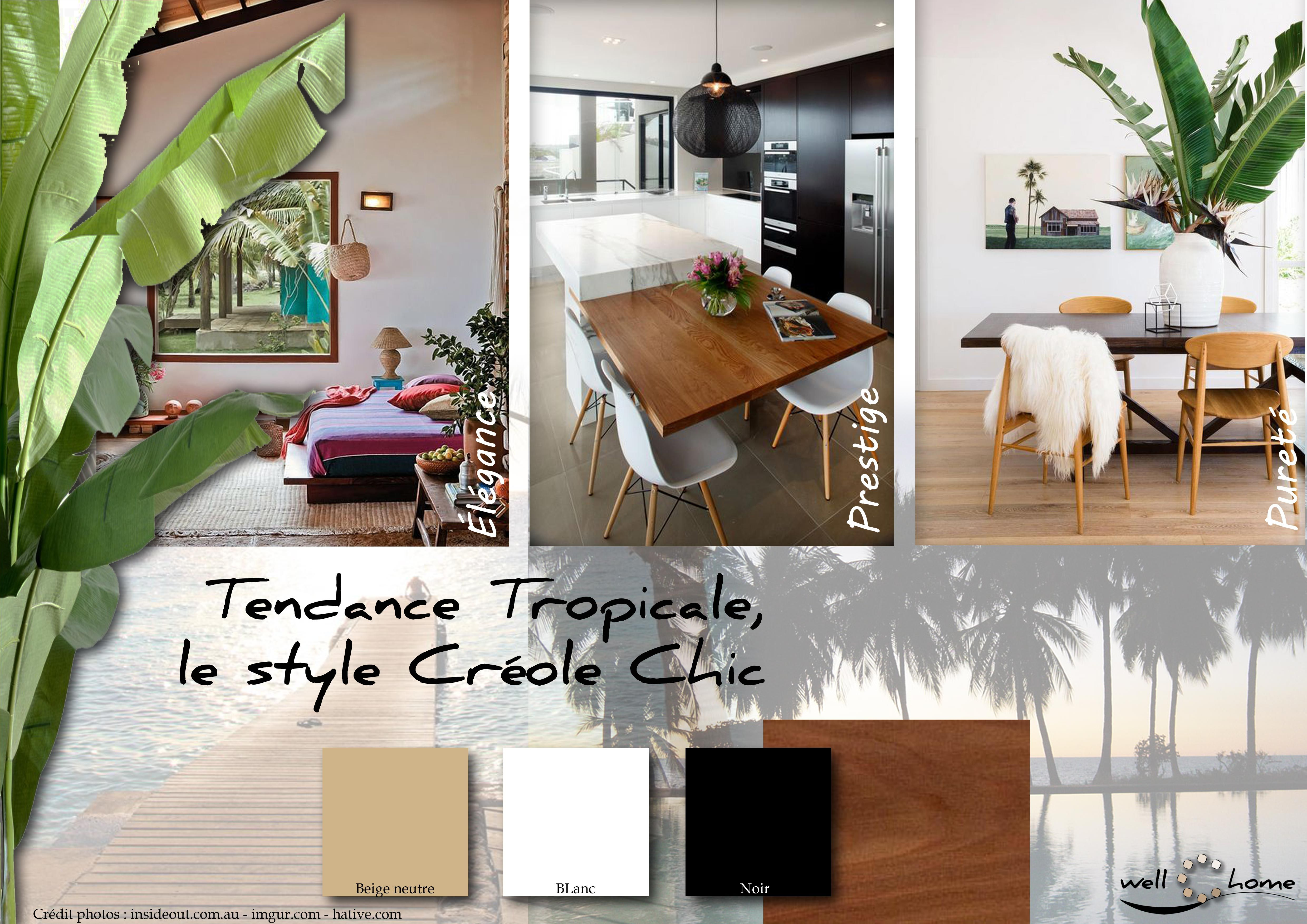 moodboard d co planche d 39 ambiance tendance tropicale style cr ole chic r alisation well c. Black Bedroom Furniture Sets. Home Design Ideas