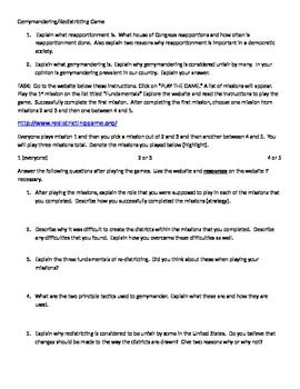 Redistricting-Gerrymandering Game   Worksheets/Activities ...
