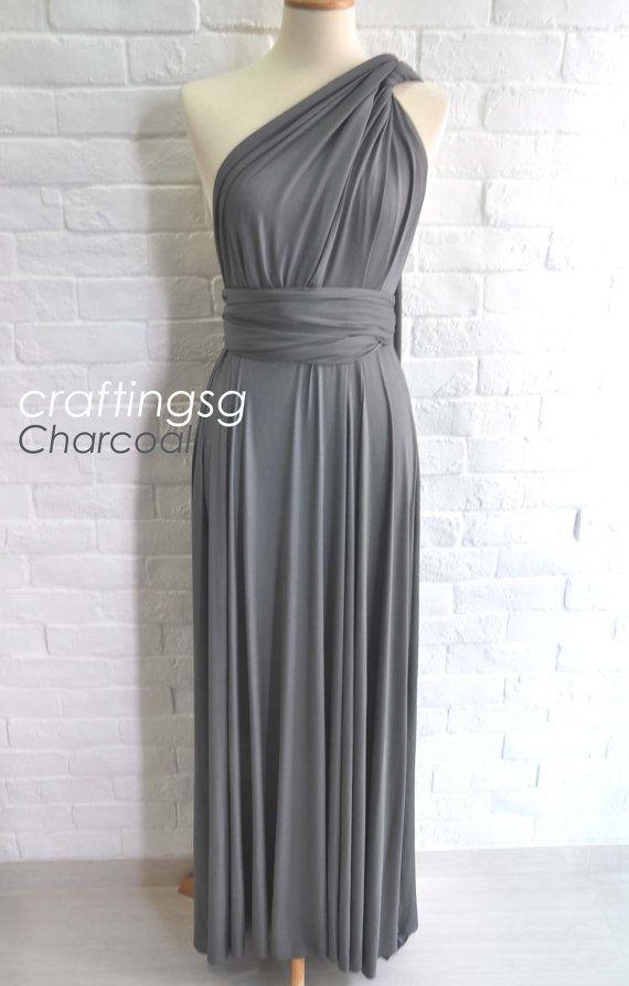 11fa858d9f01 Bridesmaid Dress Infinity Dress Charcoal Grey Floor Length Wrap Convertible  Dress Wedding Dress