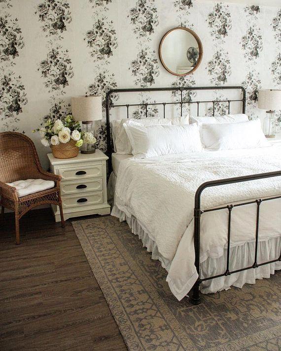 York Wallcoverings Magnolia Home Tea Rose Gray White Black Farmhouse Floral Wallpaper Joanna Gaines #vintagebedroom