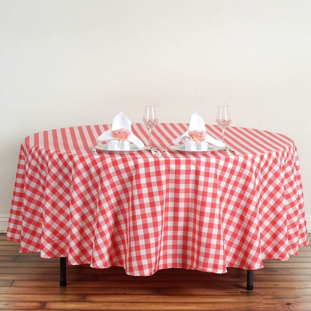 108 White Coral Round Checkered Gingham Polyester Picnic Tablecloth Picnic Tablecloth Plaid Tablecloth Round Tablecloth