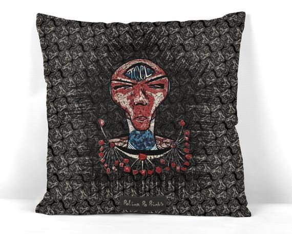 TOOL, WITCHY DECOR, Pillow Cover, Unique Gift, Alien, Geek, Boho pillow, Goth Decor, Third eye, Quirky Gift, Creepy Decor, Monster face