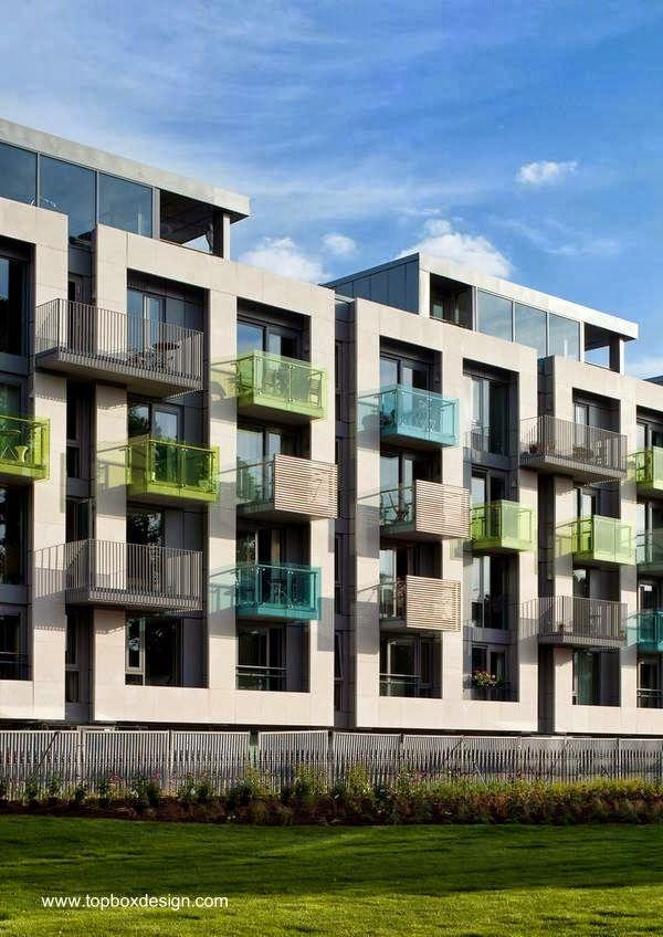 Complejo de edificios residenciales en 600 for Fachadas edificios modernos