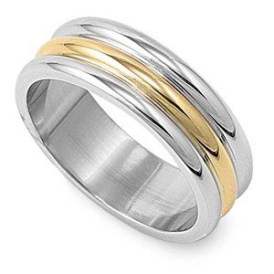 Polished Stainless Steel Gold Two-Tone Unisex Ring