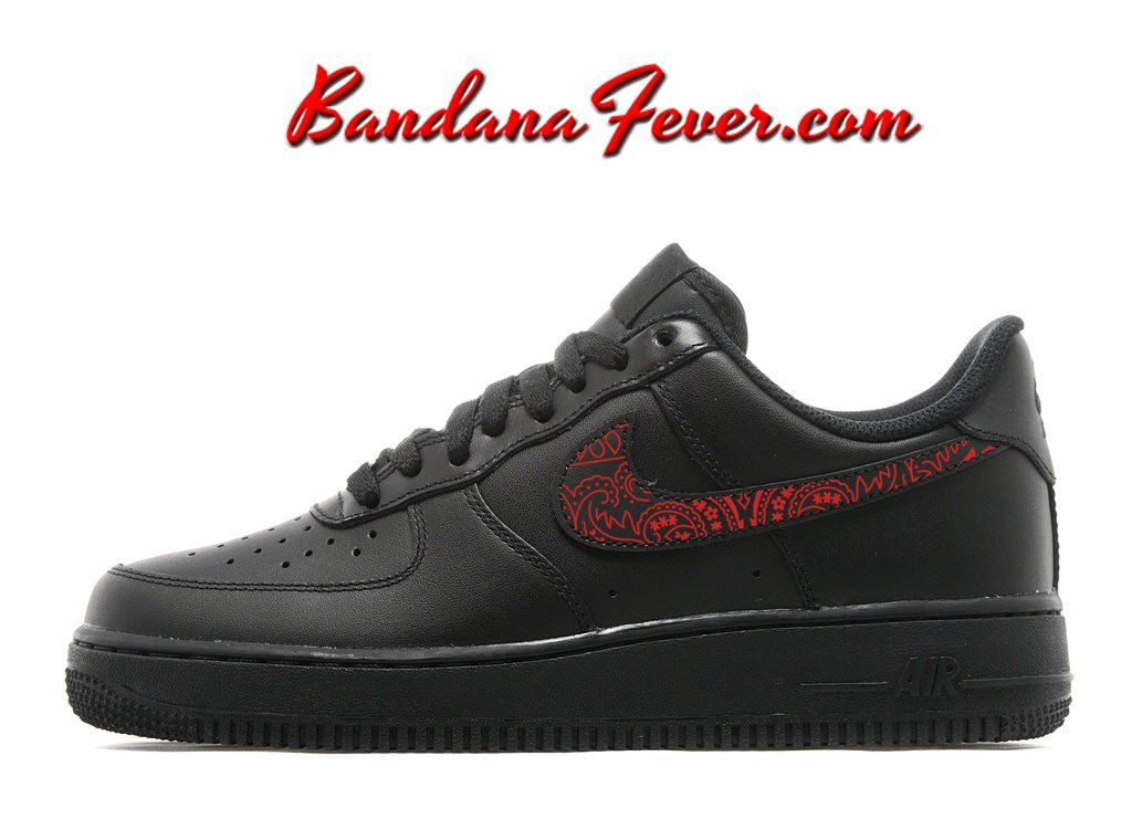 outlet store c0574 75ad8 Custom Red Bandana Nike Air Force 1 Shoes Black Low,  paisley,  bandanna,  by Bandana Fever