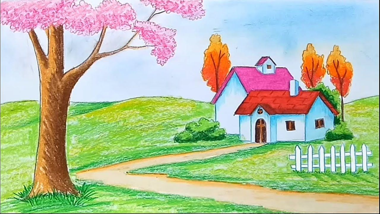How To Draw Beautiful Scenery Step By Step Drawing Scenery Beautiful Scenery Drawing Beautiful Scenery Paintings