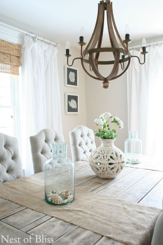 White Floor Length Curtains In Coastal Dining Room