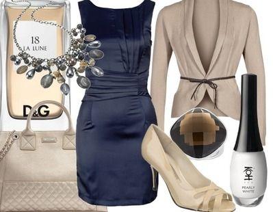 dunkelblaues kleid kombinieren damen