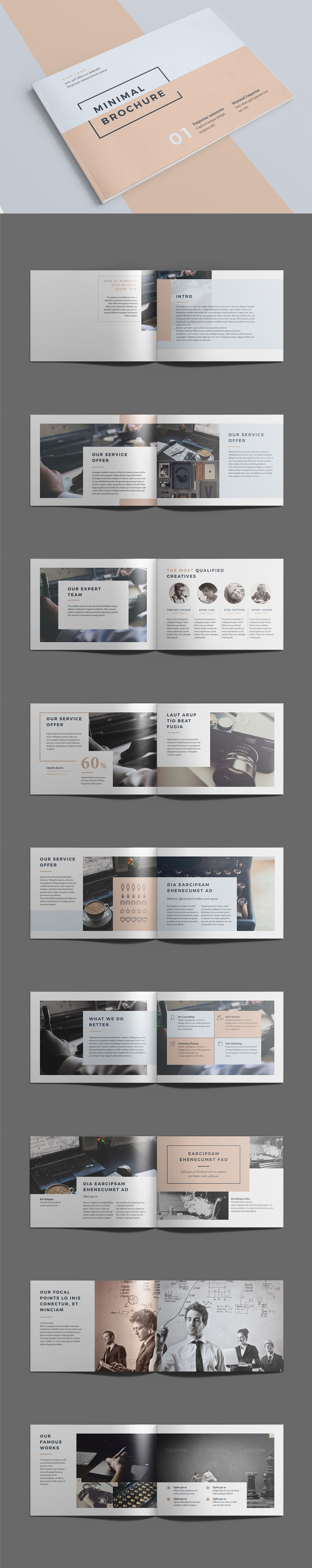 Minimal Brochure Template InDesign INDD - 18 Pages, A5 | PAPEL ...