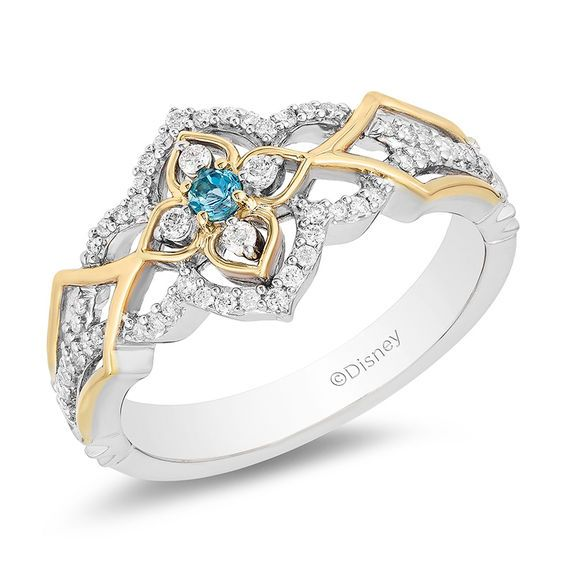 Enchanted Disney Jasmine Swiss Blue Topaz And 1 5 Ct T W Diamond Ring In Sterling Silver And 10k Gold Size 7 Zales Disney Engagement Rings Rose Gold Engagement Ring Vintage Raw Diamond Studs
