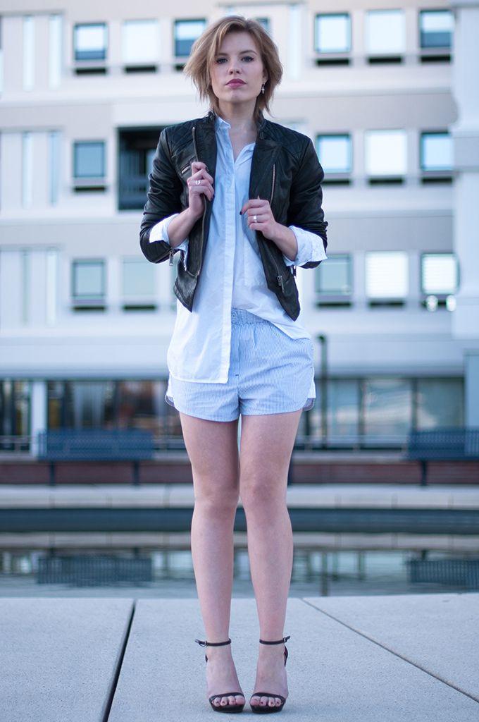 9ee708138a5 www.redreidinghood.com RED REIDING HOOD  Fashion blogger wearing BLUEGOLD  leather biker jacket Alexander Wang pyjama shorts streetstyle pj suit Zara  strappy ...