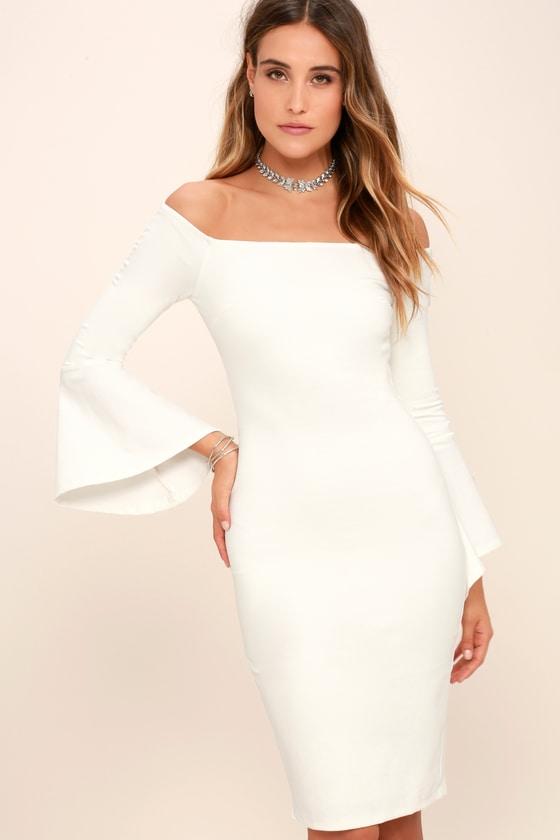 All She Wants White Off The Shoulder Midi Dress White Floral Maxi Dress White Dresses For Women White Dress