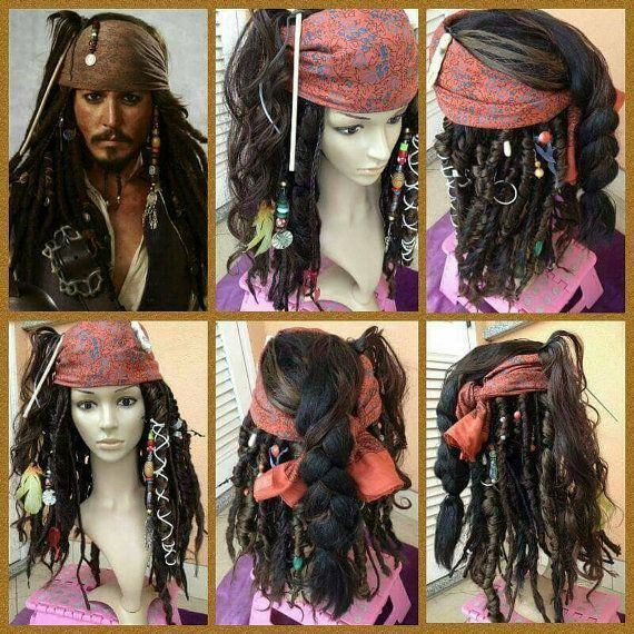 Image Result For Jack Sparrow Wig Chart Pirate Costume Accessories Pirate Hair Pirate Costume Diy