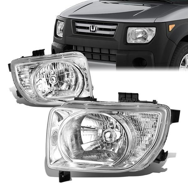 03 08 Honda Element Headlights Chrome Housing Clear Lens