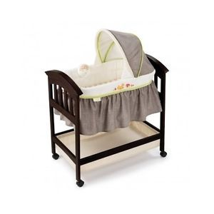 Musical Baby Bed Wheeled Bassinet Canopy Wooden Vibration Large