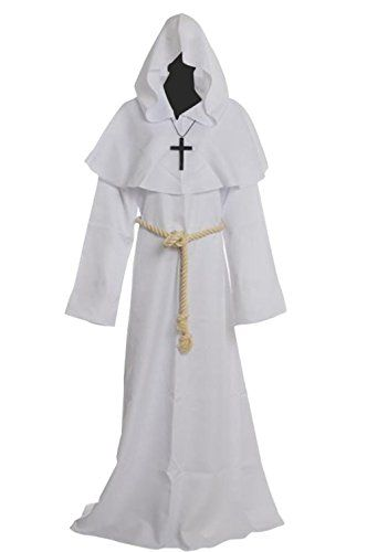 52e8b2d0d616 Friar Medieval Hooded Monk Renaissance Priest Robe Costume Cosplay White XL     Click on the image for additional details.