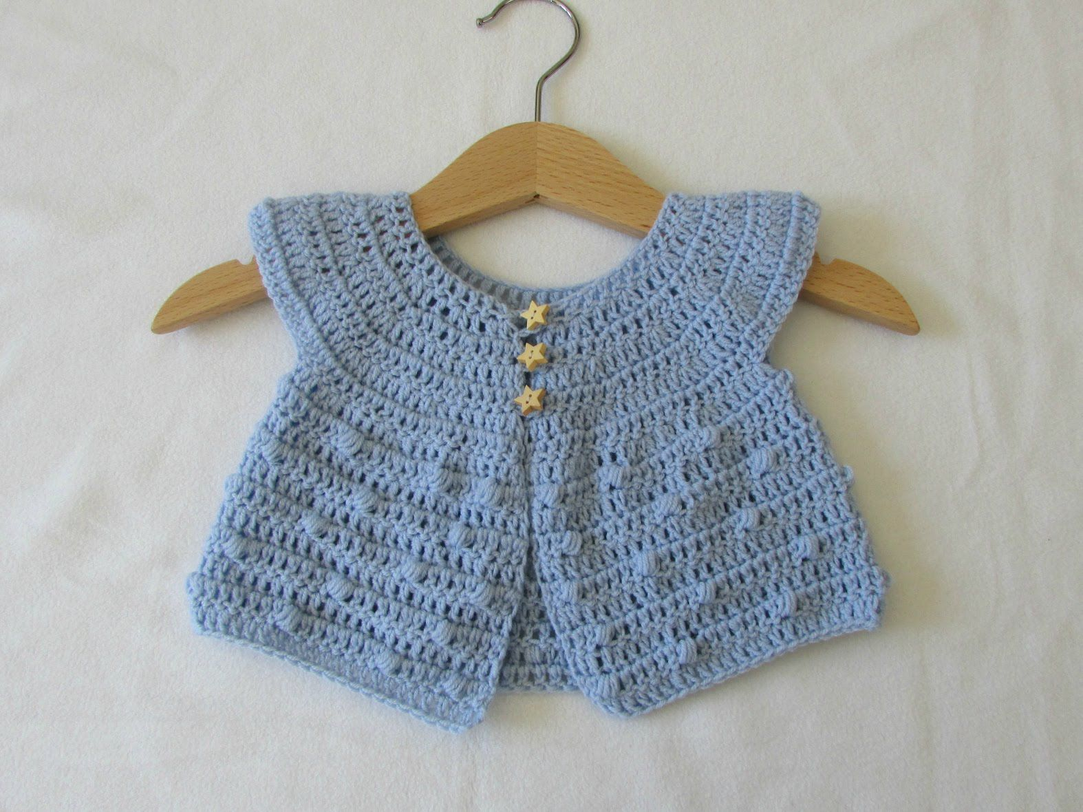 How to crochet a baby bobble stitch cardigan / sweater