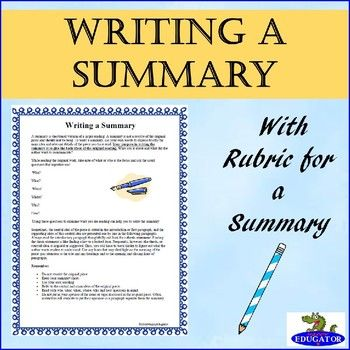 Writing a Summary with Rubric - Objective Summary Rubrics - what is an objective summary