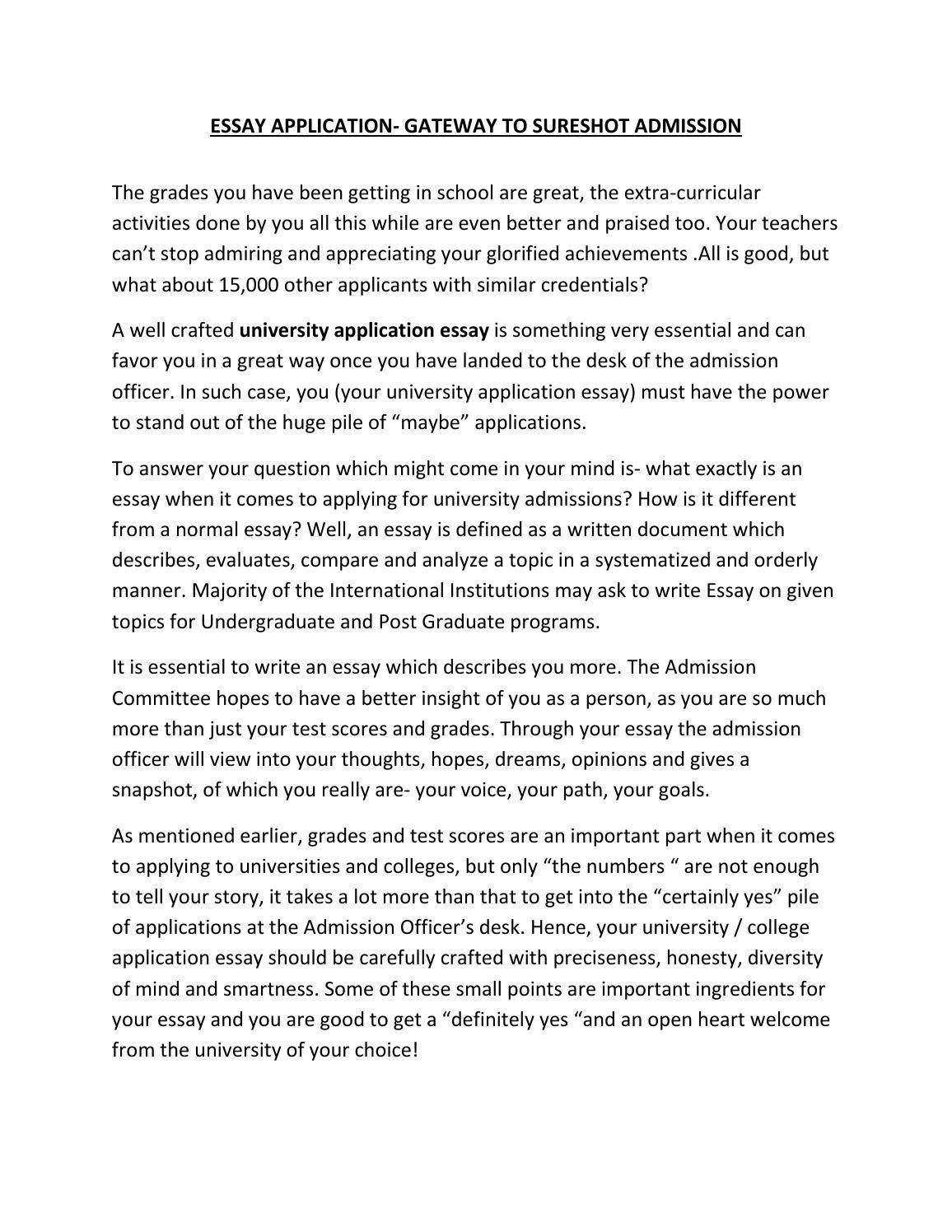 Essay Application Gateway To Sureshot Admission