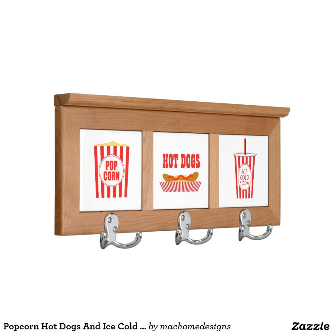 Theater Room Snack Bar: Popcorn Hot Dogs And Ice Cold Soda Signs Coat Rack
