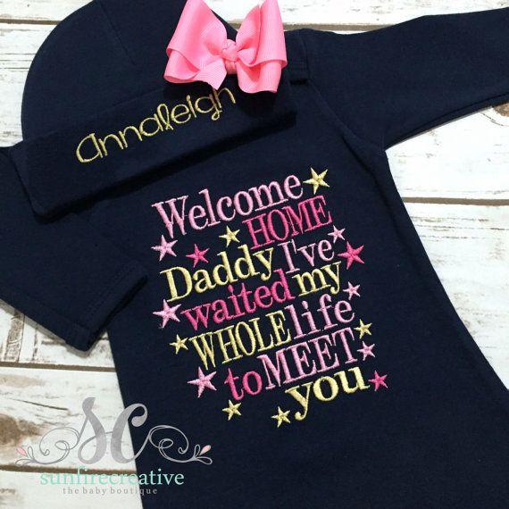 199741978 Welcome Home Daddy Newborn Outfit Newborn Girl Baby Boy | Newborn ...