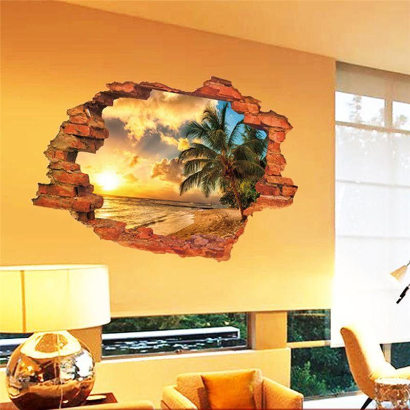 Broken Brick Wall SeaShore Beach Theme Tropical Wall Decal … | Pinteres…