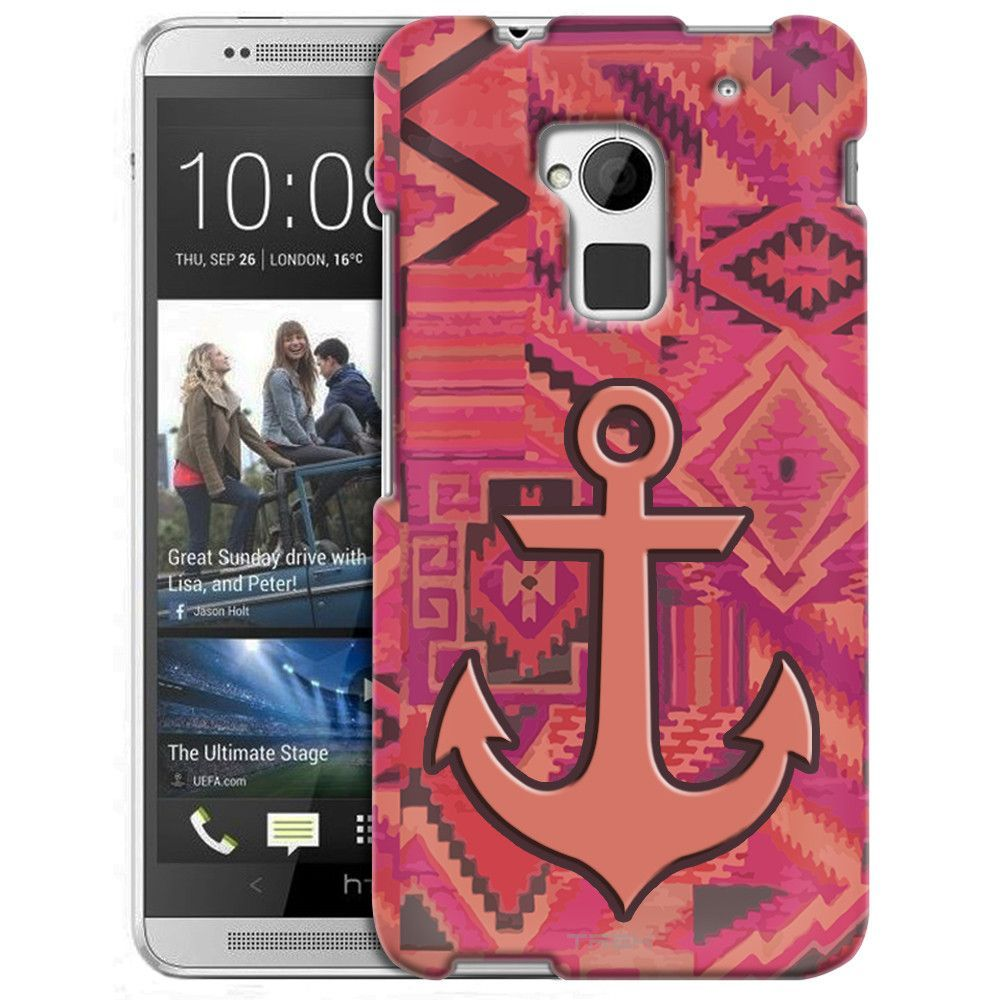 Htc one max anchor on aztec pink tribal pattern slim case products