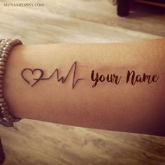 Heartbeat Tattoo With Name For Girl