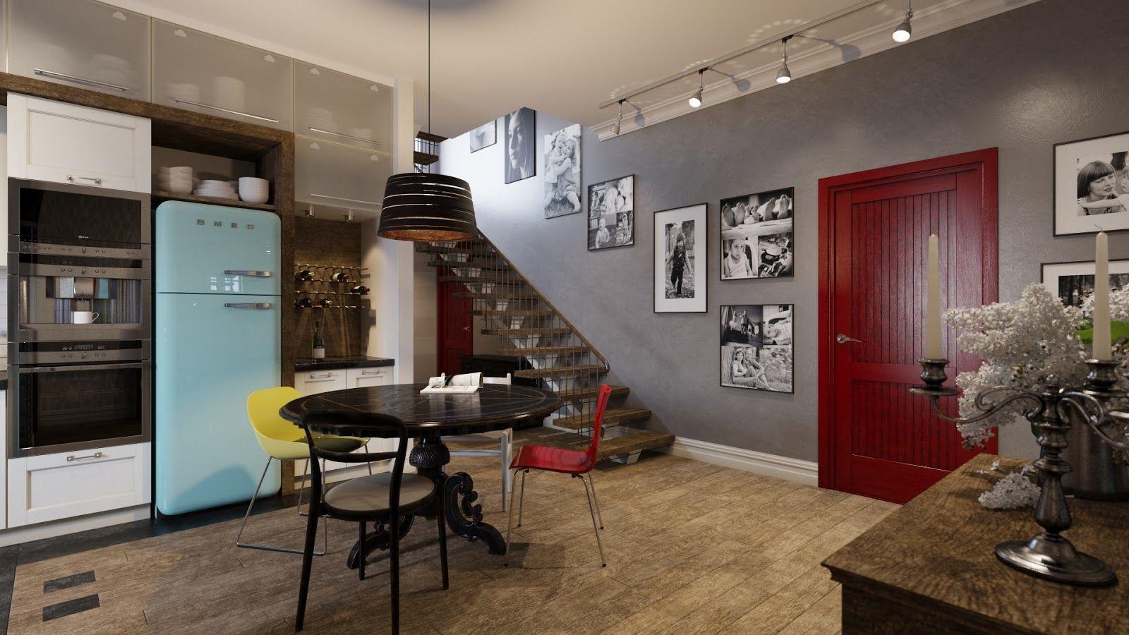 Interior : Mix Blue Smeg Refrigerator Kitchen Dining Table Design ...