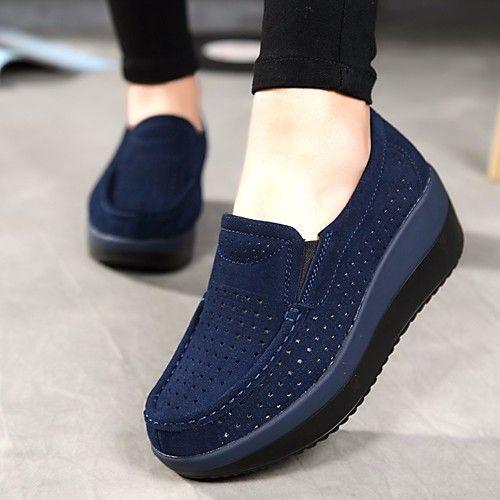 Mujer Zapatos Tela Primavera verano Confort Zapatos de taco bajo y Slip-On Tacón Cuña Dedo redondo Beige / Azul Oscuro Le Plus Grand Fournisseur Acheter Des Prix Pas Cher Vp4LarmFY3