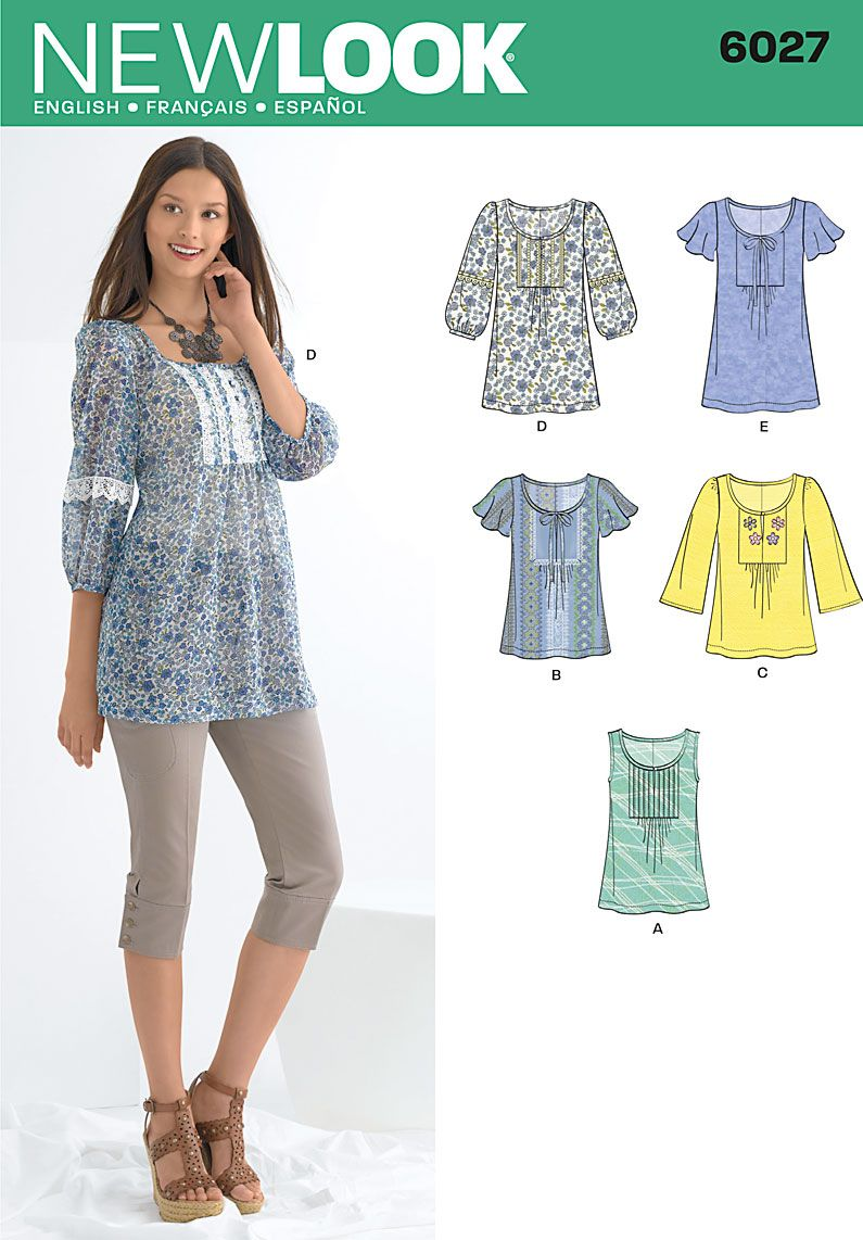 New Look pattern 6027: Misses\' Tunic or Tops - interesting bodice ...