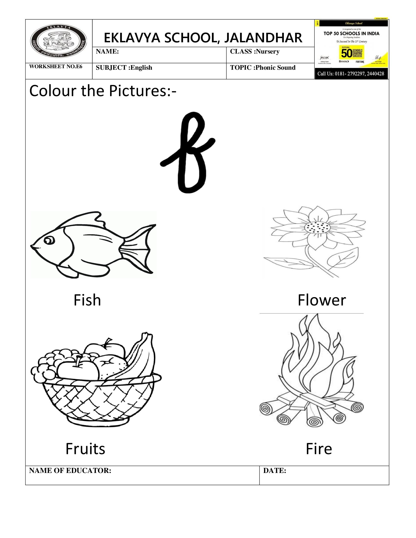 Worksheet On Phonic Sound F