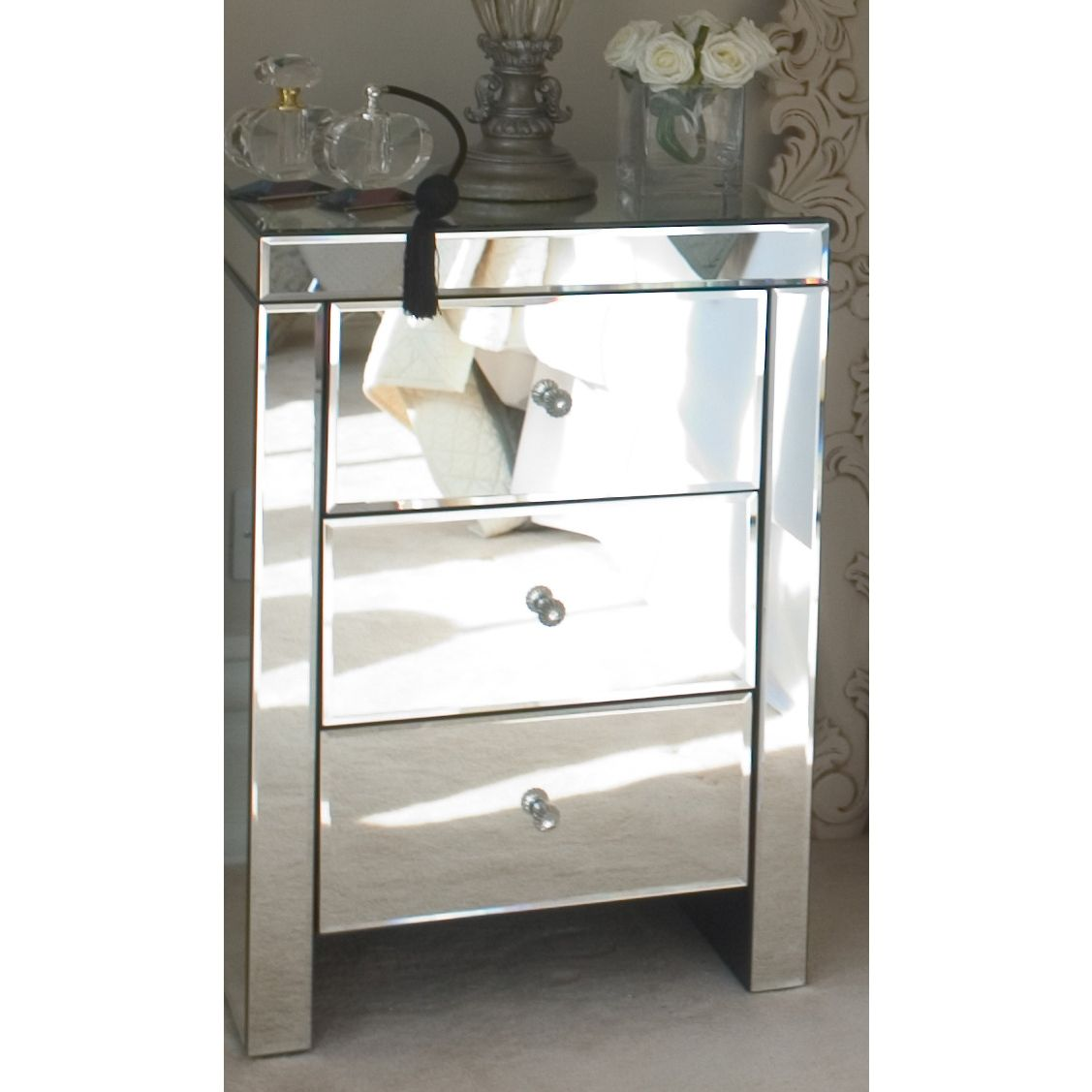 Best Sofia Plain Glass 3 Drawer Bedside Mirrored Side Tables 400 x 300