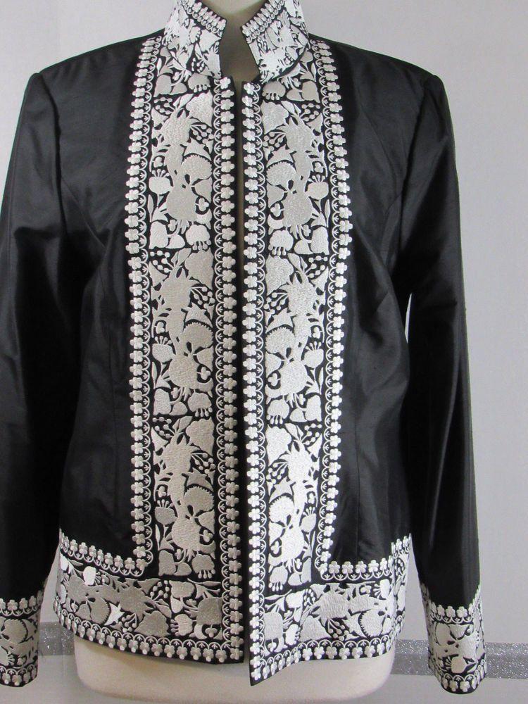 1679cd5041e Womens Silk Blazer Bloomingdales Size 12 Black White embroidery Floral Long  slev #Bloomingdales #Blazer