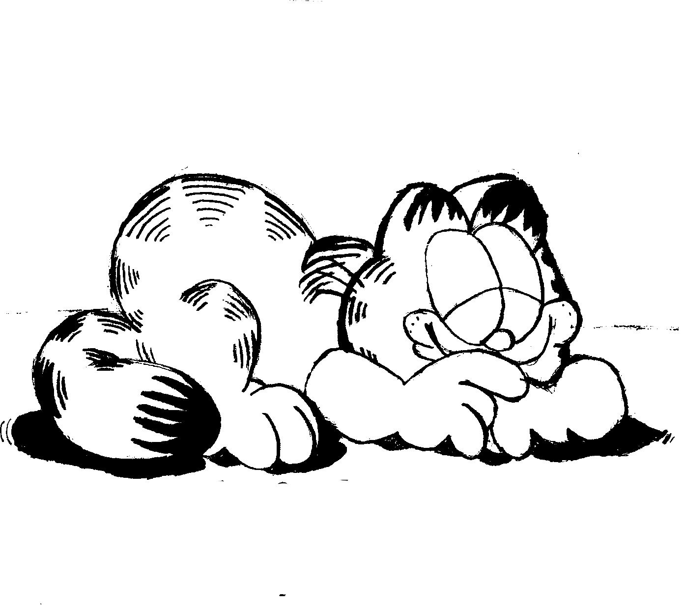 Printable coloring pages garfield - Funny Sleeping Slumbering Garfield Coloring Page