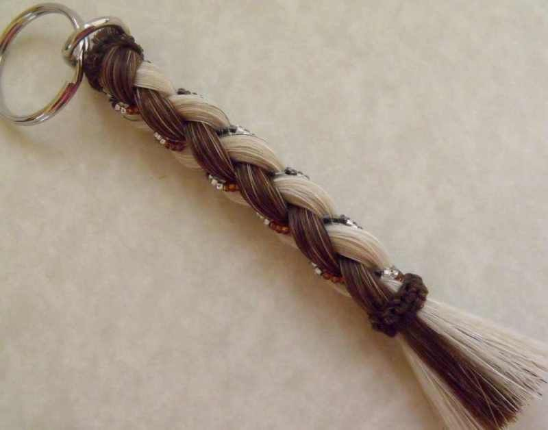Key Chain Real Horse Hair Romantic Beaded Great Gift Chestnut and white