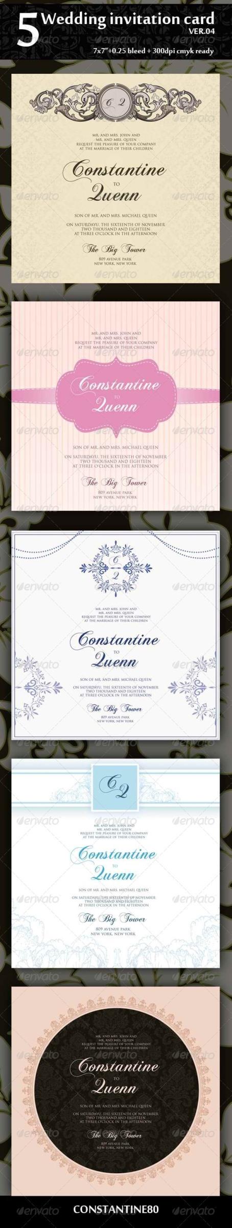 Desain Undangan Pernikahan Terbaik Template Photoshop Desain Undangan Nikah 5 Wedding Invitation 7 7 Ver 04 Undangan Pernikahan Template Desain Undangan