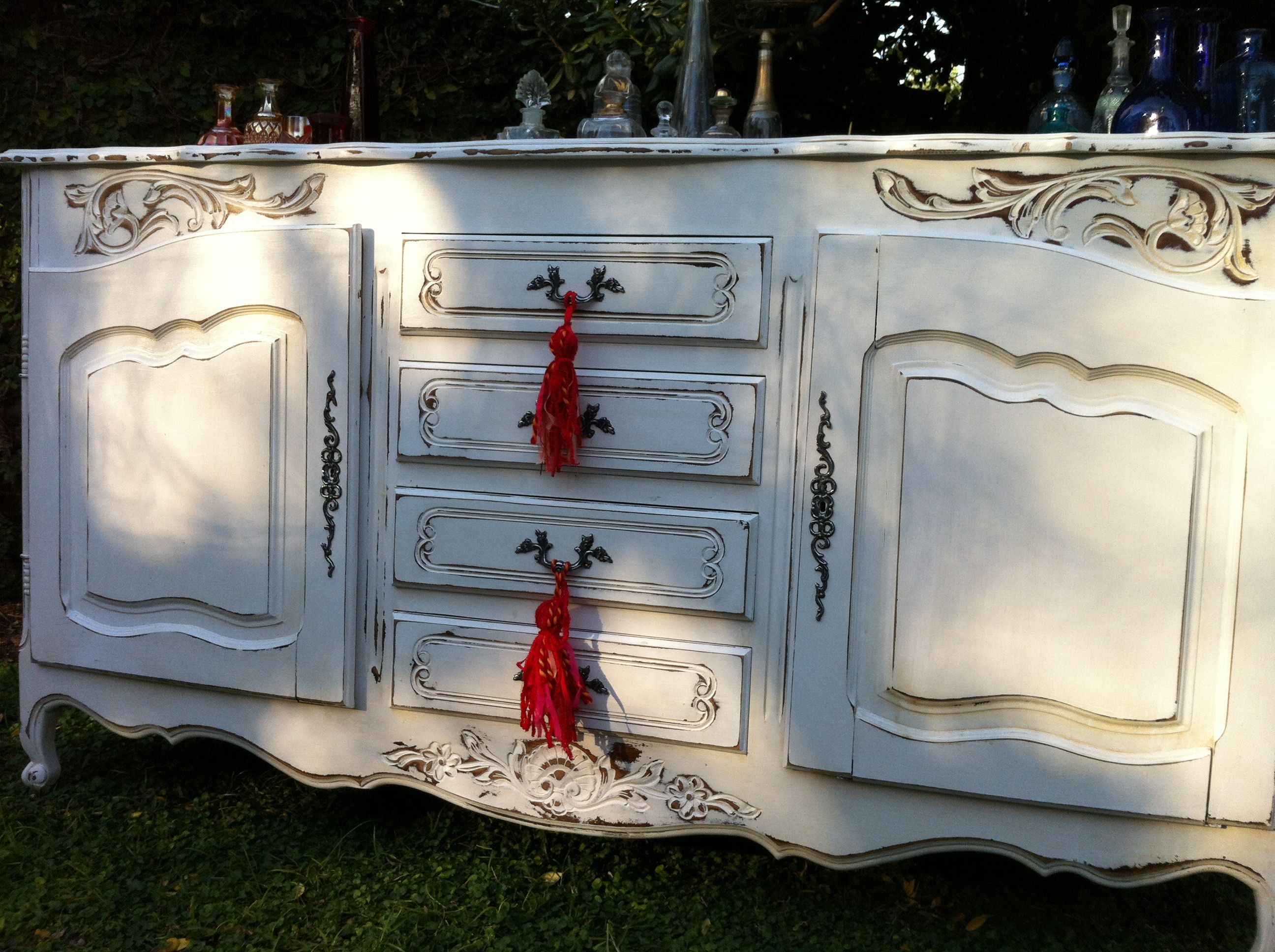 Vajillero frances blanco decapado muebles restaurados - Muebles antiguos restaurados ...