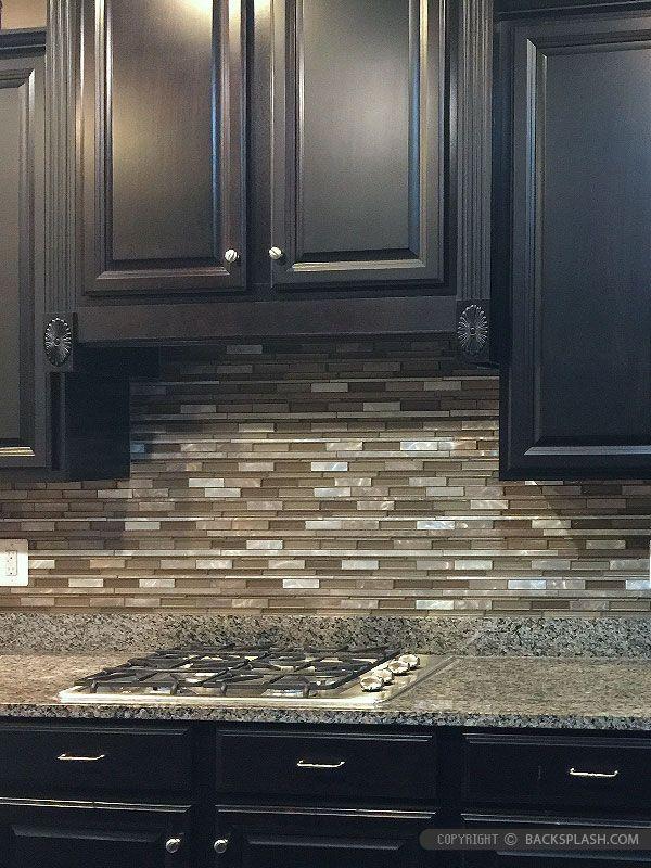 Brown Metal Glass Mixed Mosaic Kitchen Backsplash Tile Glass Backsplash Kitchen Kitchen Tiles Backsplash Mosaic Backsplash Kitchen