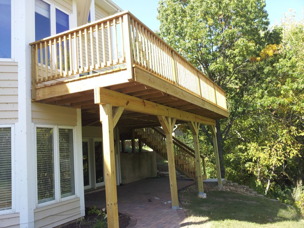 Outdoor deck plans for two story houses raised deck with for 2 story decks and patios