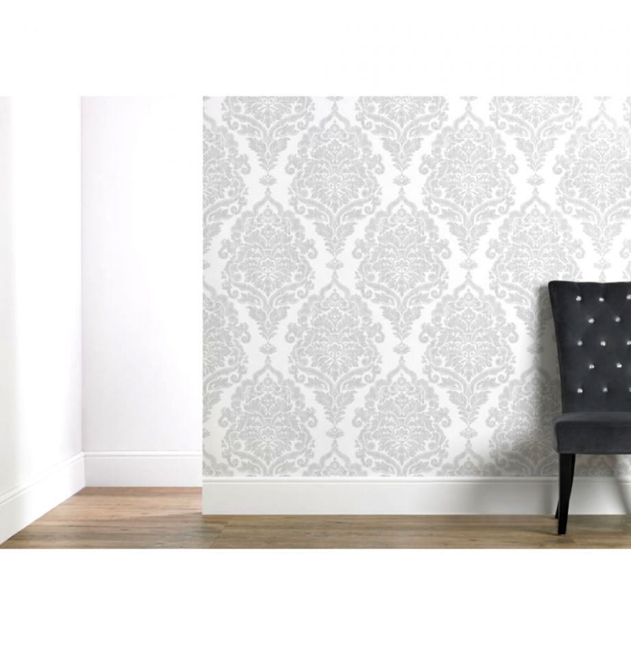 Wilko Wallpaper Damask Silver Wilko  Silver wallpaper, Master